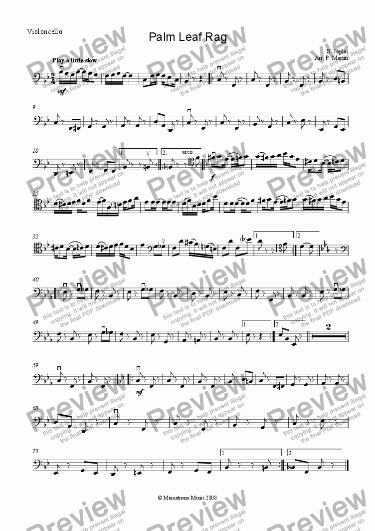 page one of the Cello part from Palm Leaf Rag