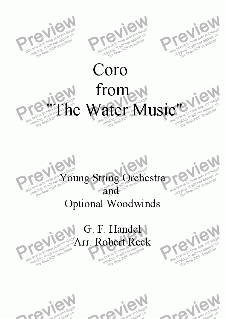page one of the Double Bass part from Coro (from the Water Music) for Young String Orchestra and Optional Woodwinds