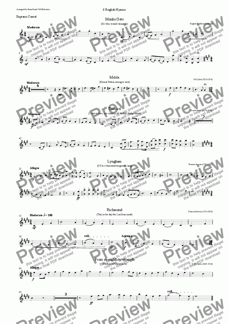 page one of the soprano cornet part from 6 English Hymn tunes (Brass Band)