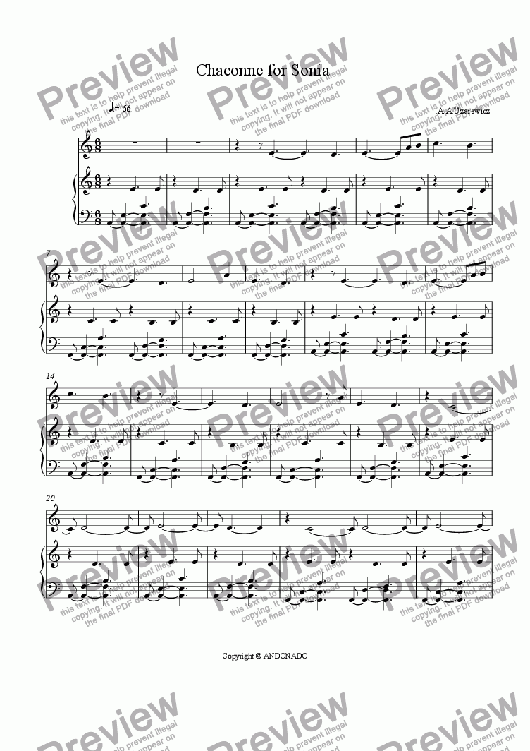 page one of the oboe part from  Chaconne for Sonia