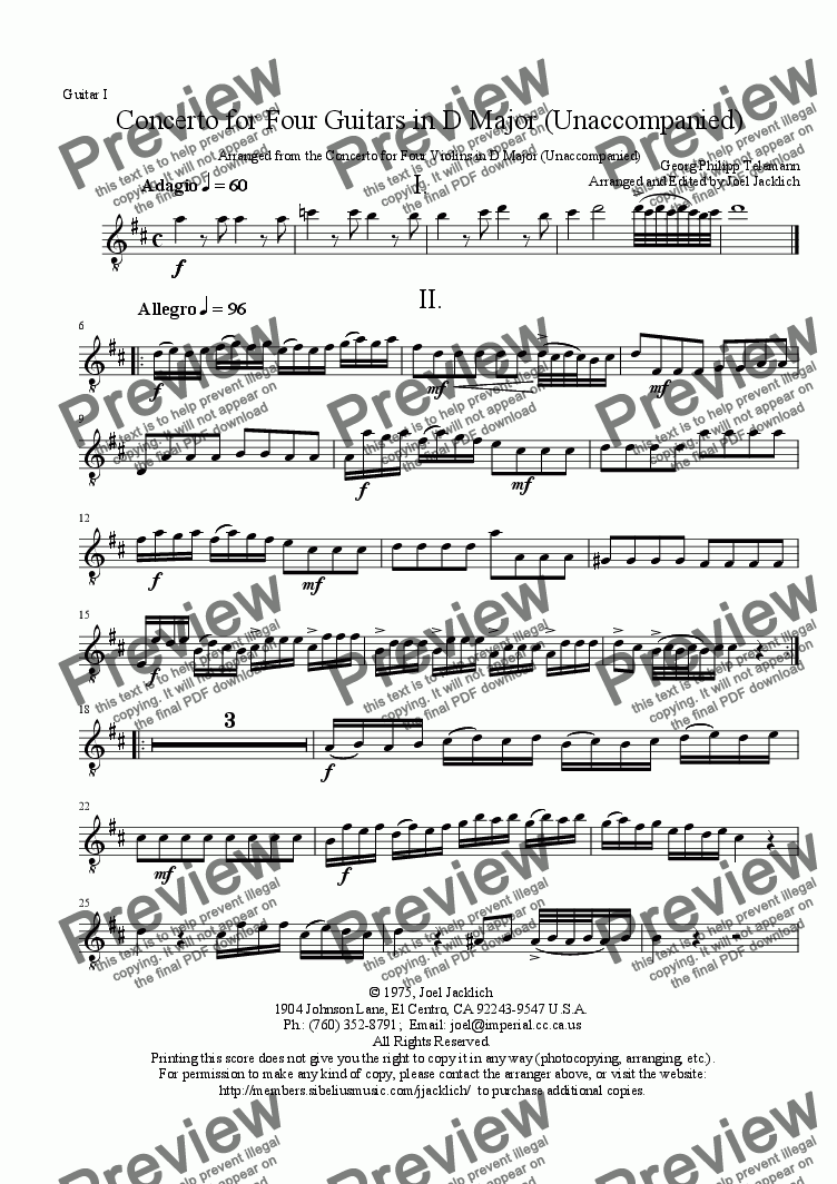 page one of the Guitar I part from Concerto in D Major for Four Guitars (Unaccompanied)
