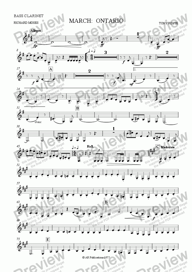 page one of the Bass Clar. part from March ONTARIO for Band