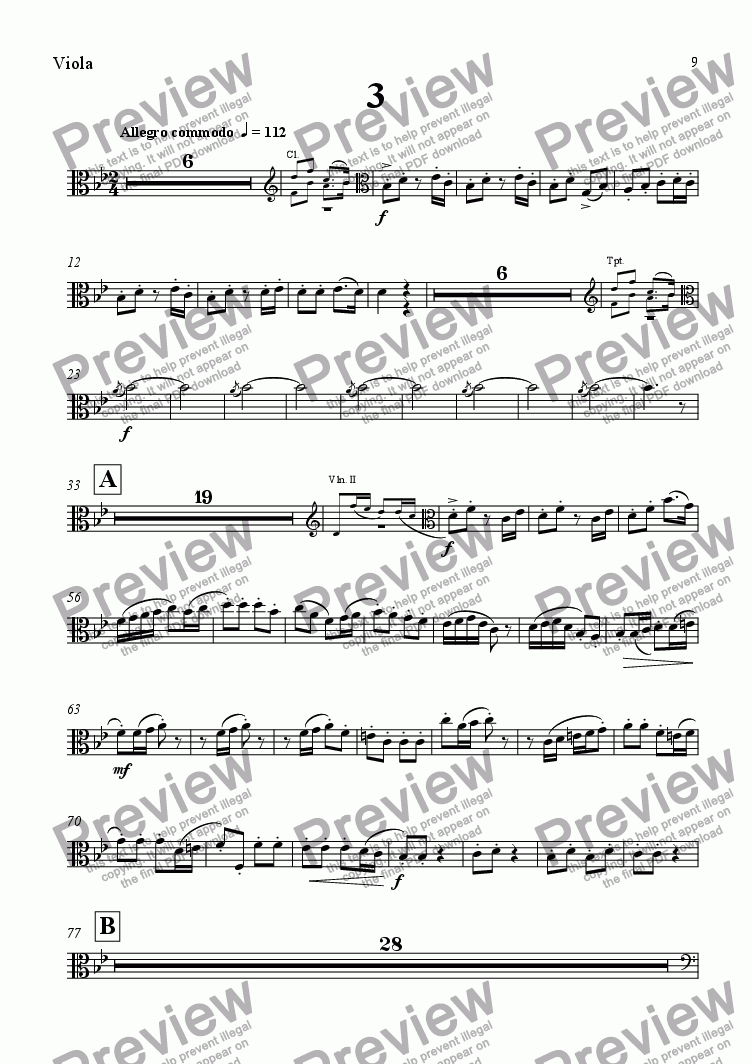 page one of the Viola part from A Wealden Symphony - Third Movement