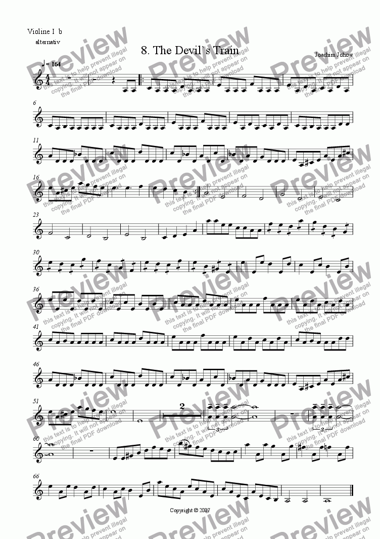 page one of the Vl 1b part from My School Orchestra (08 The Devil`s Train - Orchestra, Piano)