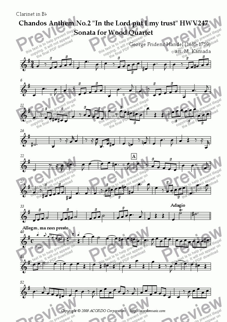 "page one of the Clarinet in Bb part from Chandos Anthem No.2 ""In the Lord put I my trust"" HWV247 Sonata for Wood Quartet"