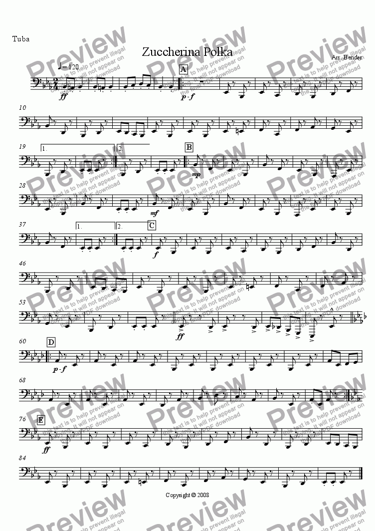 page one of the Tuba part from Zuccherina Polka