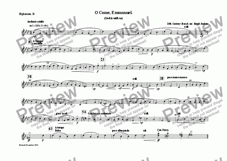 page one of the Euphonium Bb part from O Come, Emmanuel.