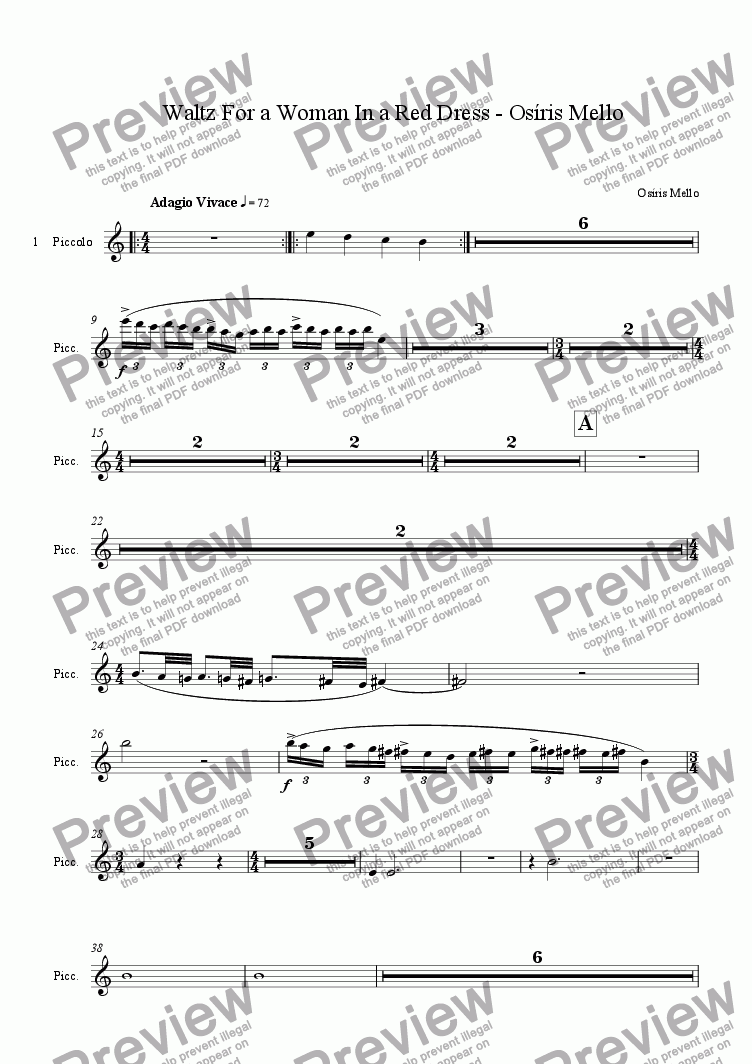 page one of the PICCOLO part from WALTZ FOR A WOMAN IN A RED DRESS(FULL ORCHESTRA)