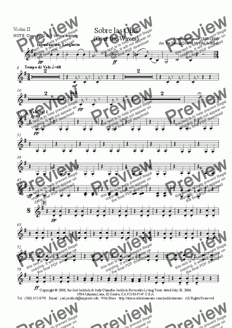 page one of the Violin II part from Sobre las Olas (Over the Waves)