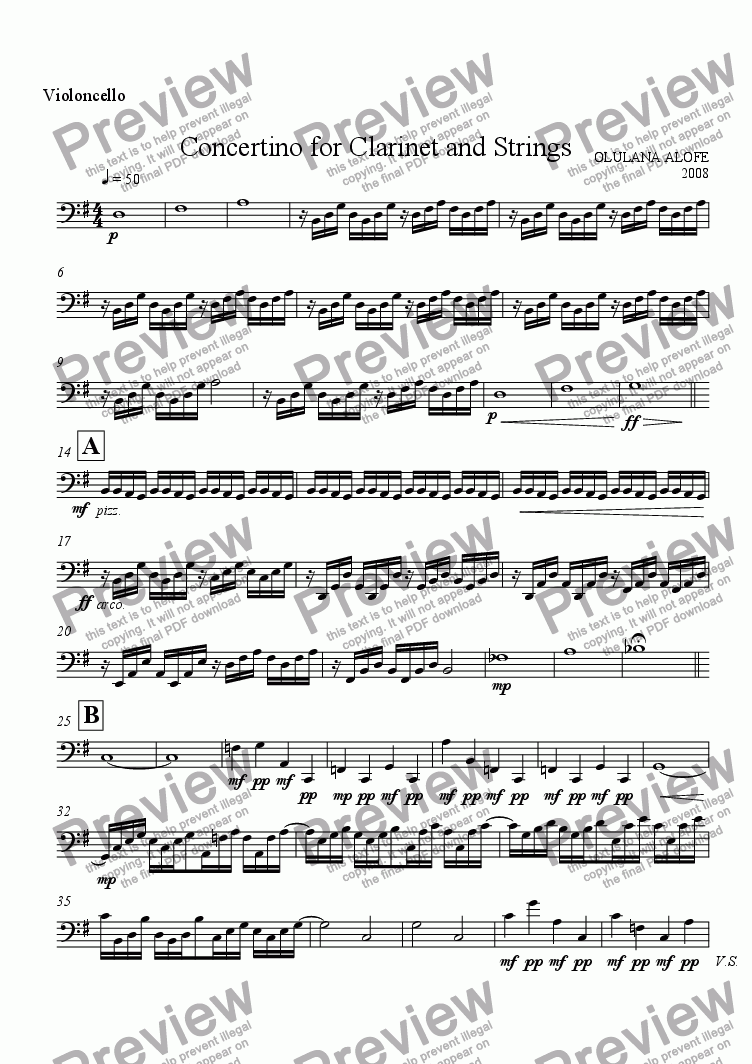 page one of the Cello part from Concertino for Clarinet and Strings