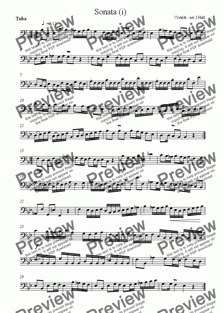 page one of the Tuba part from Tuba Sonata
