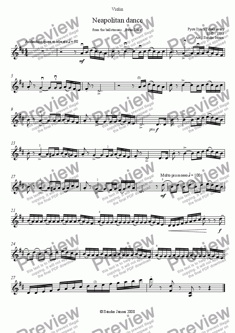 page one of the Violin part from Neapolitan Dance