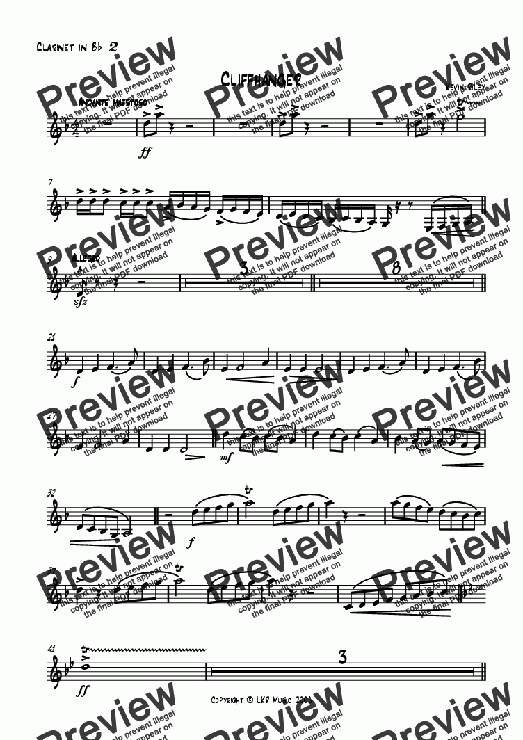 page one of the Clarinet 2 part from Cliffhanger
