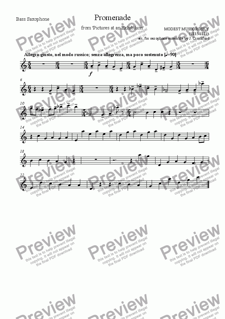 page one of the Bass Saxophone part from Promenade from 'Pictures at an Exhibition' (for Saxophone Ensemble)