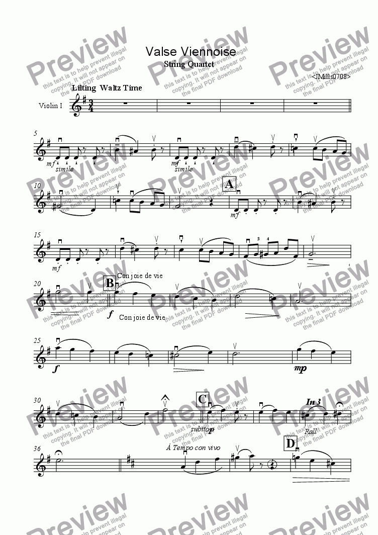page one of the violin1 part from Valse Viennoise for Strings