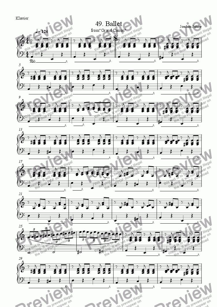 page one of the Piano part from Grand Canon 49 (Ballet - 3 Vl)