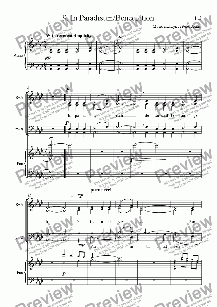 page one of the Vocal Score Reduction part from In Paradisum and Benediction