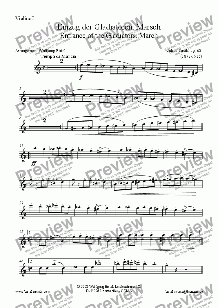 page one of the Violin 1 part from Entrance of the gladiators (String Trio: 2 Vl + Cb / Db)