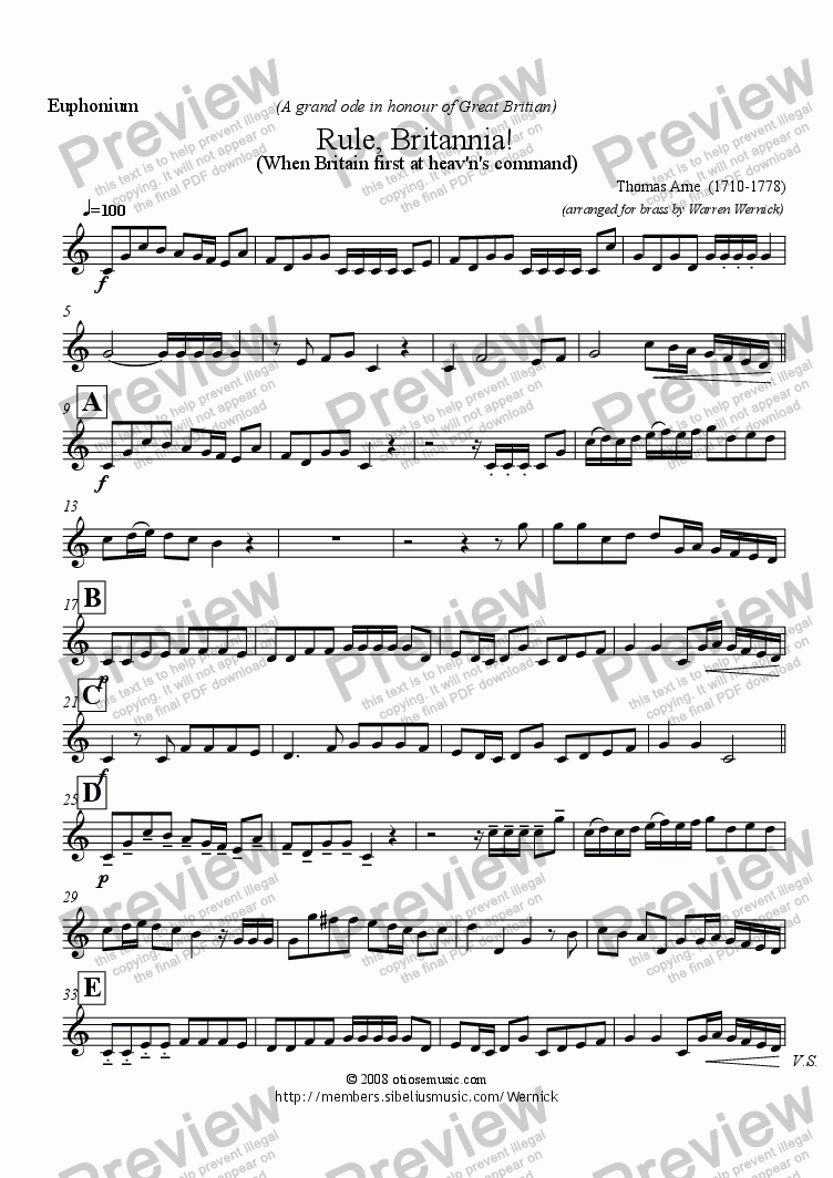 page one of the Euphonium (Rule Britannia) part from Rule Britannia! (When Britain first at heav'n's command) for Brass Band