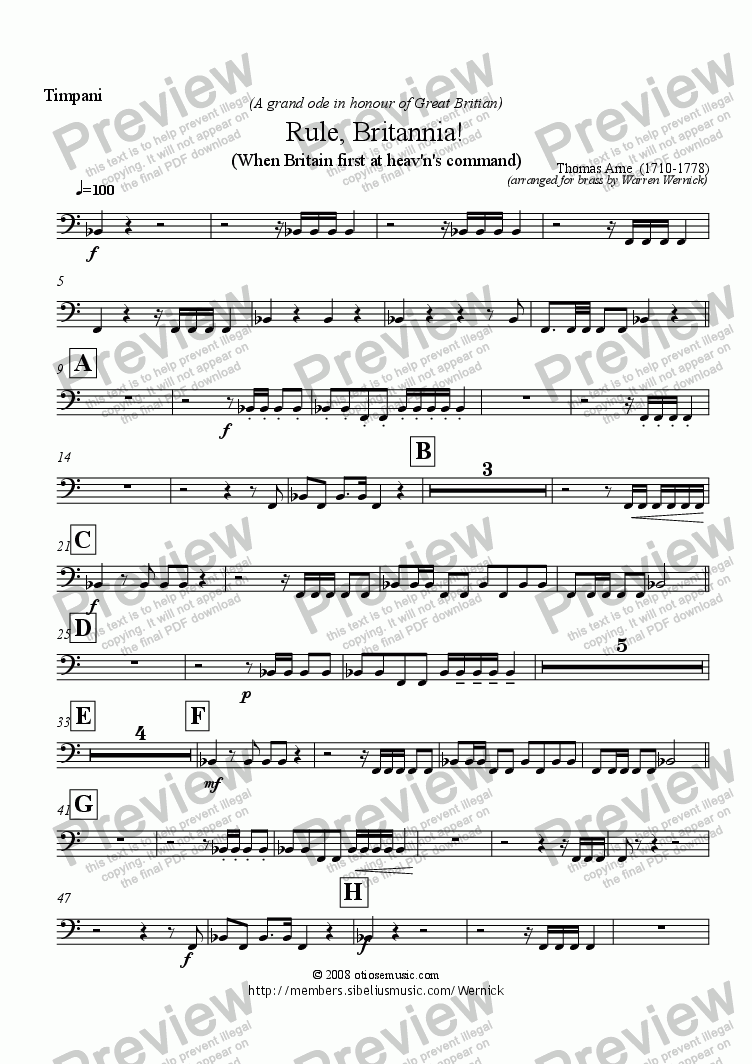 page one of the Timpani (Rule Britannia) part from Rule Britannia! (When Britain first at heav'n's command) for Brass Band