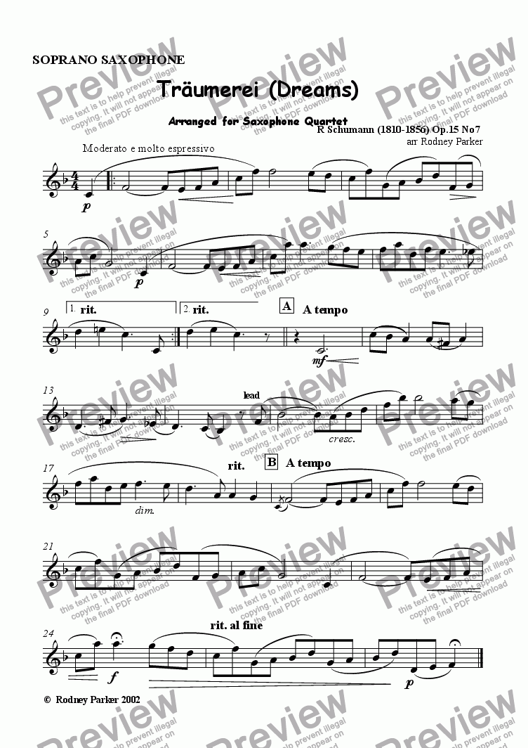 page one of the Soprano Sax part from Traumerei (Dreams)