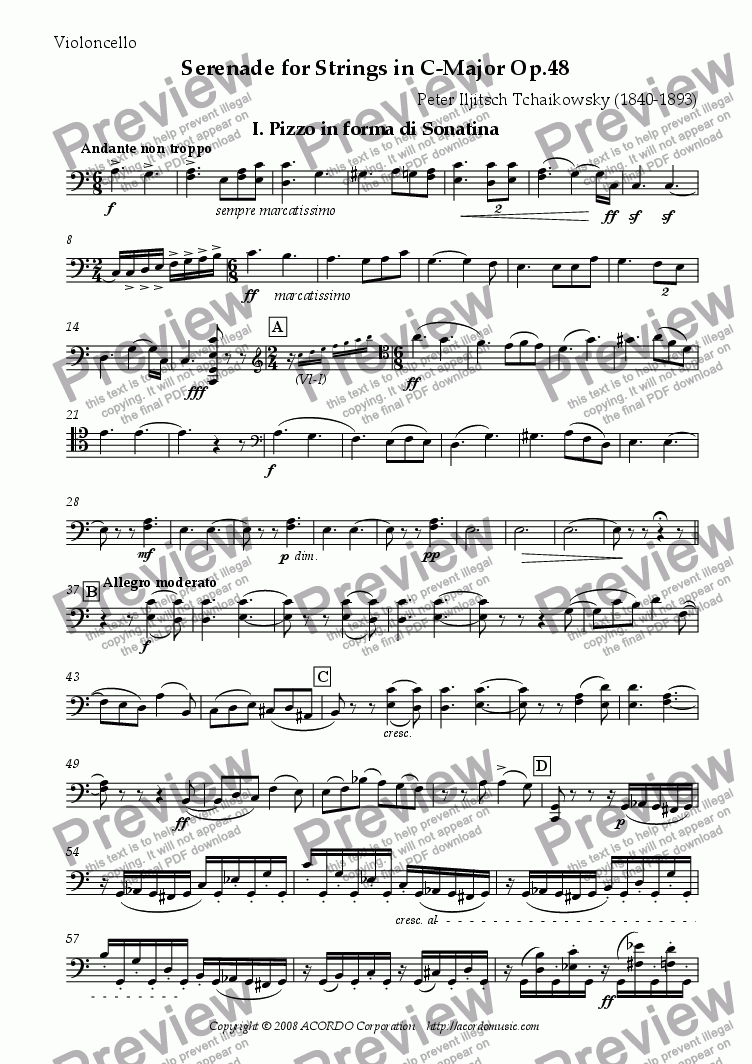 page one of the Violoncello part from Serenade for Strings in C-Major Op.48