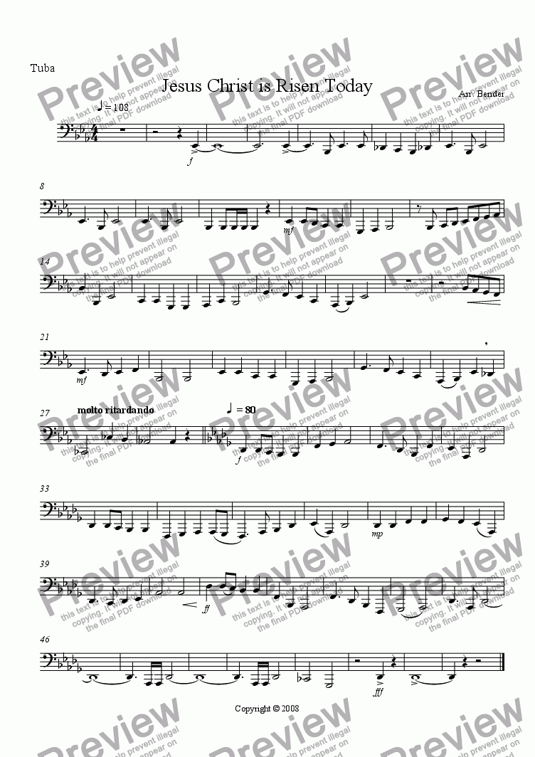 page one of the Tuba part from Jesus Christ is Risen Today