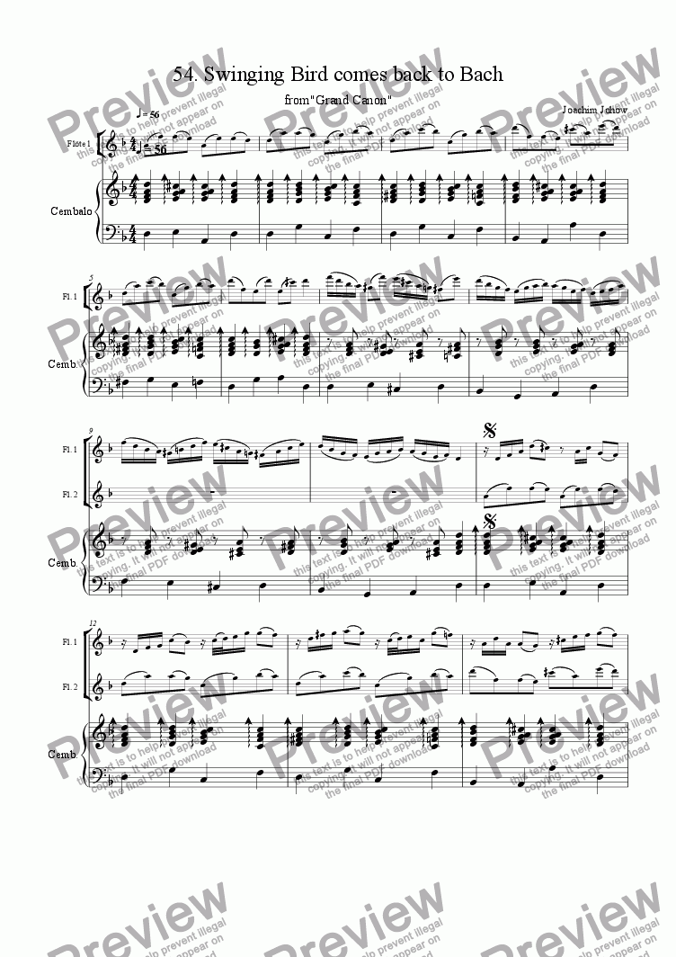page one of the Score part from Grand Canon 54 (Swinging Bird comes back to Bach - 3 Fl)