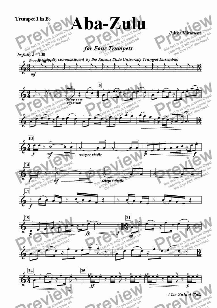 page one of the Bb Tpt 1 part from Aba-Zulu (for four Trumpets)