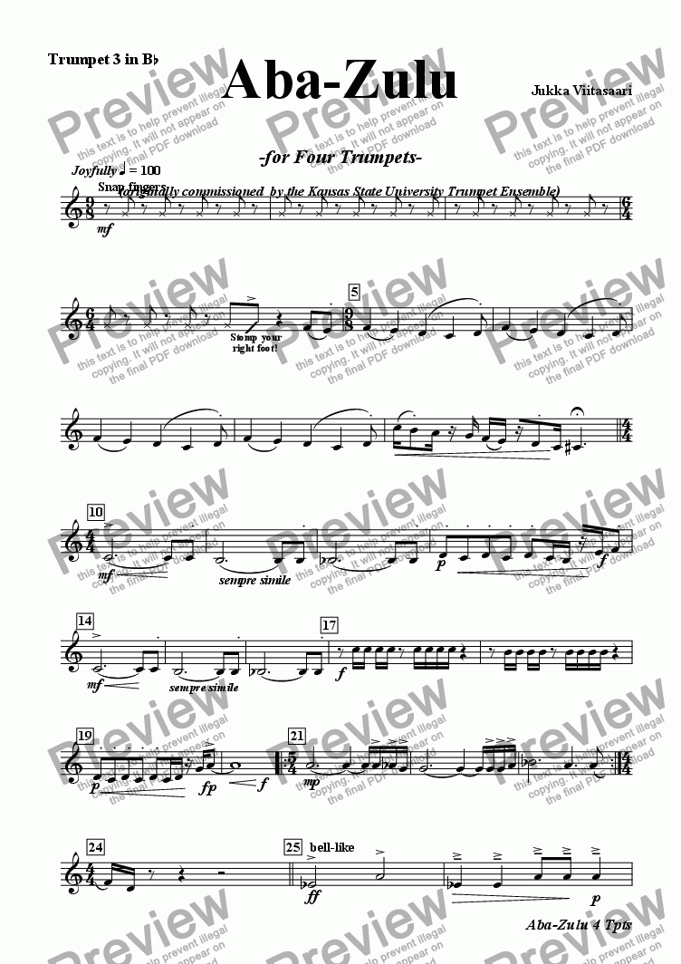 page one of the Bb Tpt 3 part from Aba-Zulu (for four Trumpets)