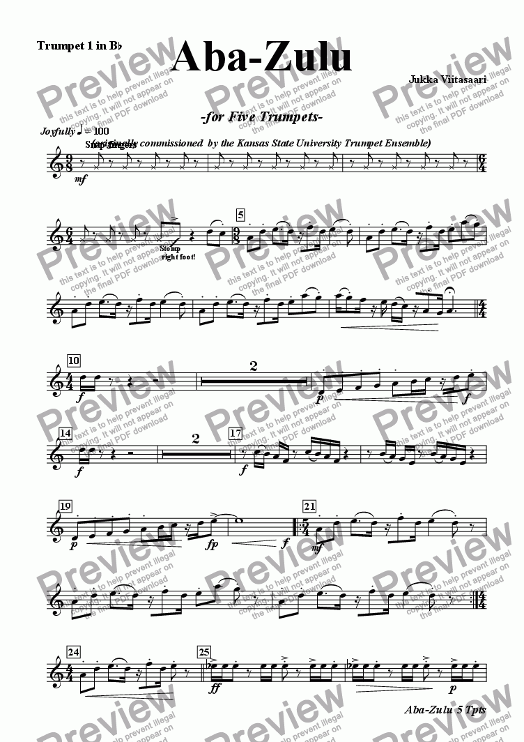 page one of the Bb Tpt 1 part from Aba-Zulu (for five Trumpets)