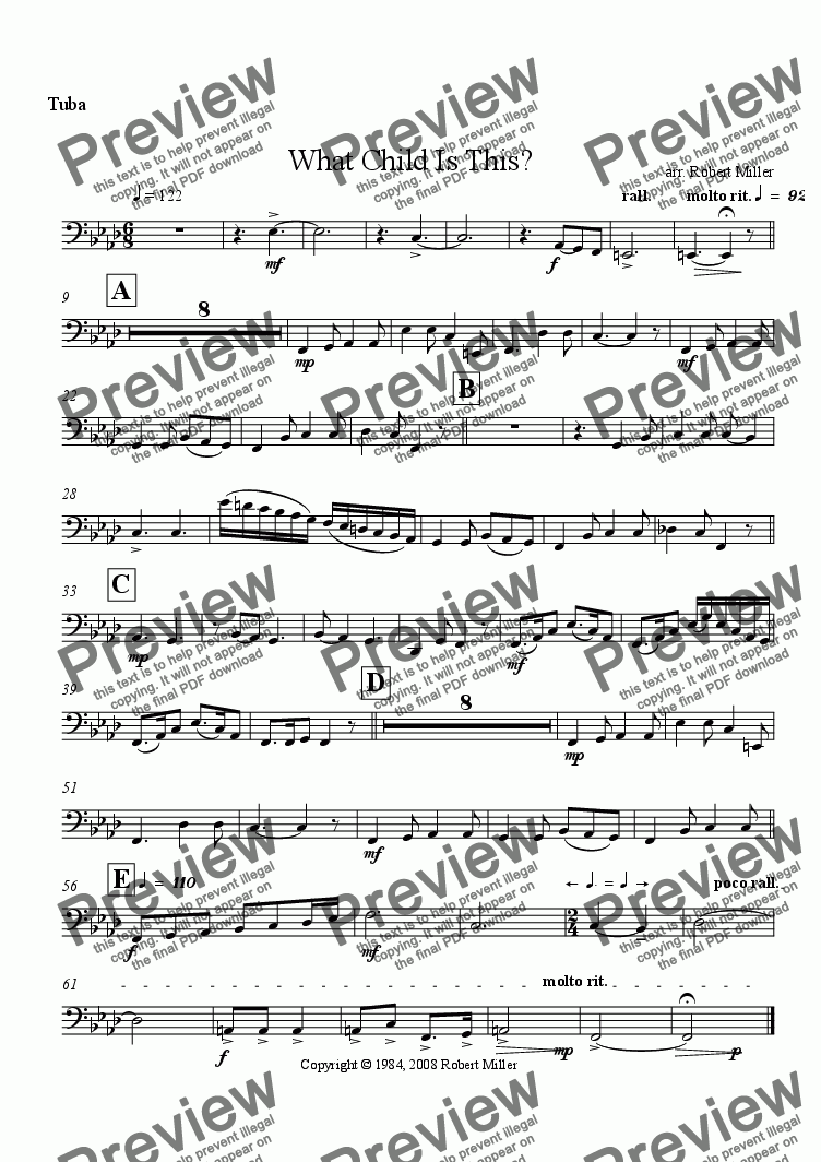 page one of the Tuba part from What Child Is This?