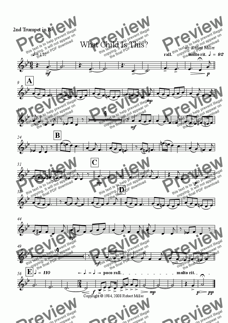 page one of the 2nd trumpet in Bb part from What Child Is This?