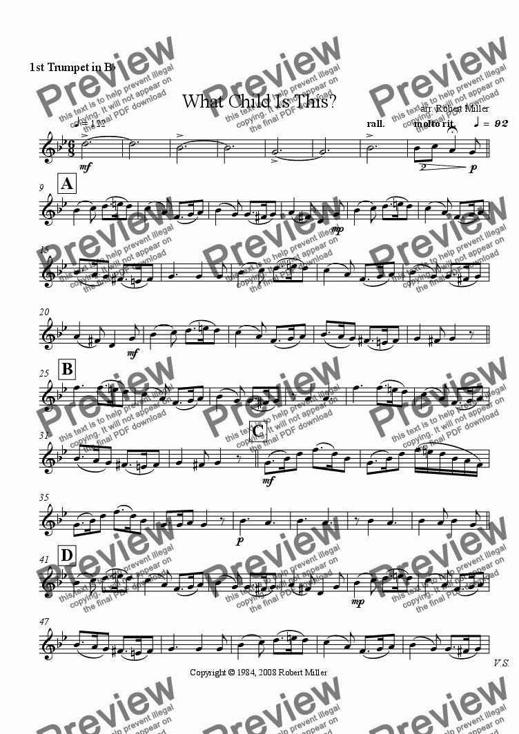 page one of the 1st trumpet in Bb part from What Child Is This?