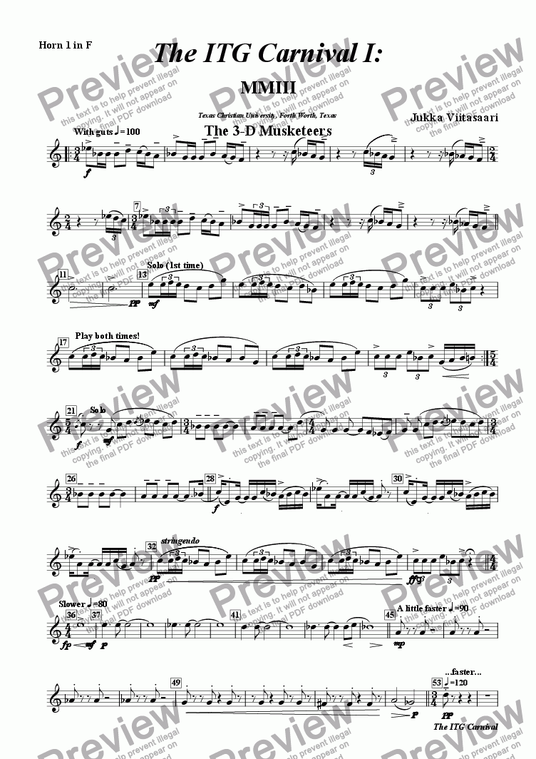 page one of the 4. F-Horn 1 part from The ITG Carnival (for Brass Septet)