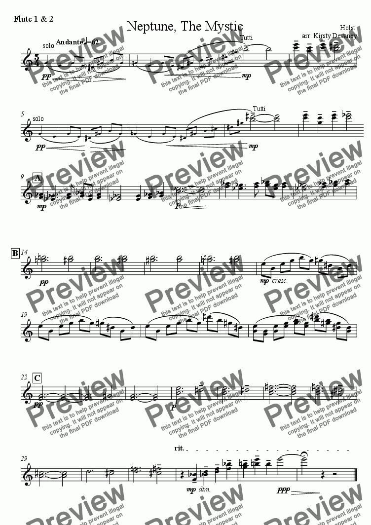 page one of the Flute 1&2 part from Neptune