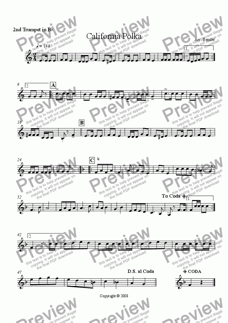 page one of the Trumpet 2 part from California Polka
