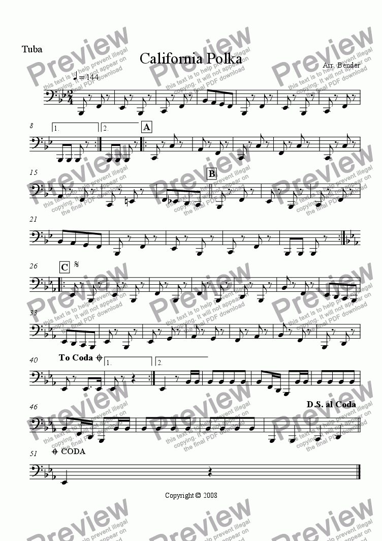 page one of the Tuba part from California Polka