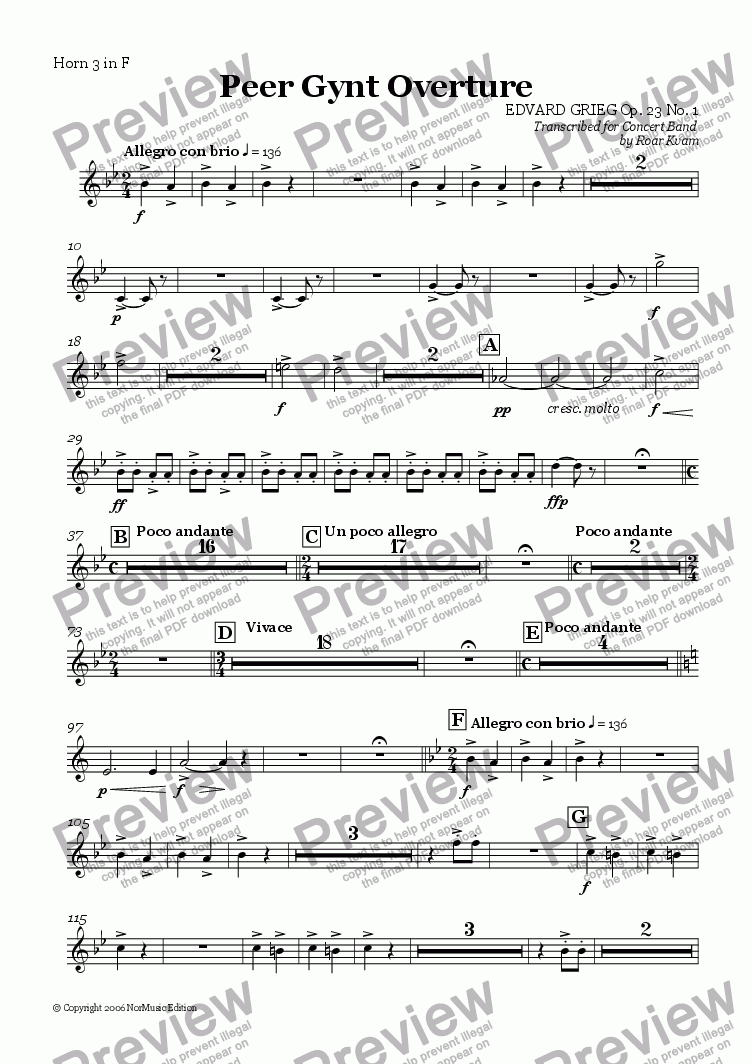 page one of the Horn 3 in F part from Grieg: Peer Gynt Overture Op. 23 No. 1 (Wind Band)