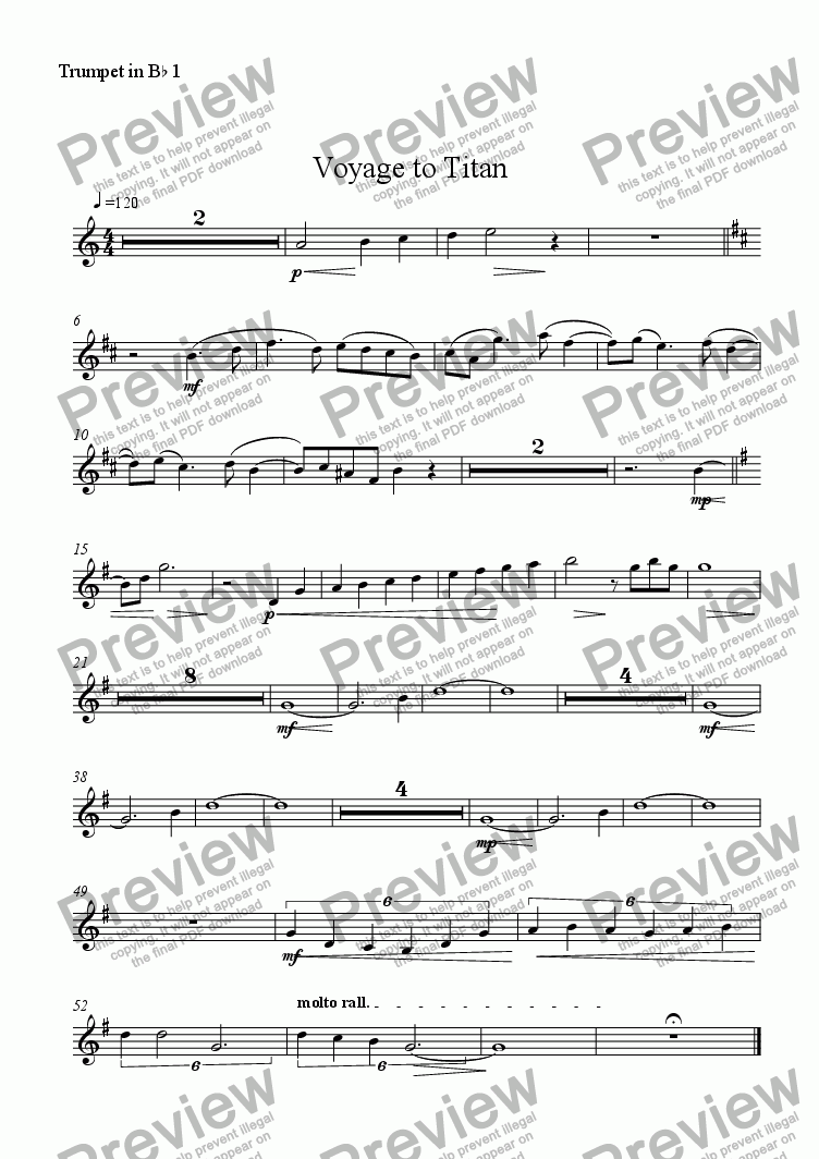 page one of the Trumpet in Bb 1 part from Voyage to Titan