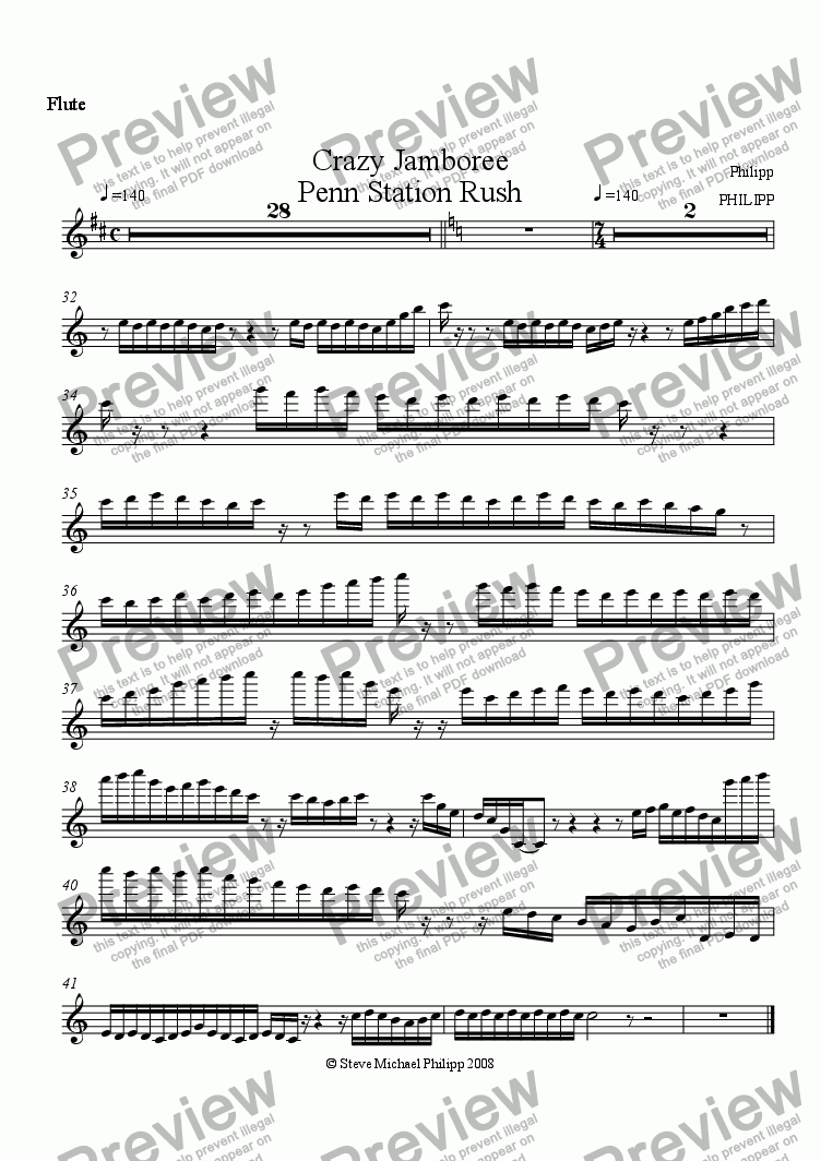 page one of the Flute 2 part from Crazy Jamboree and Penn Station Rush
