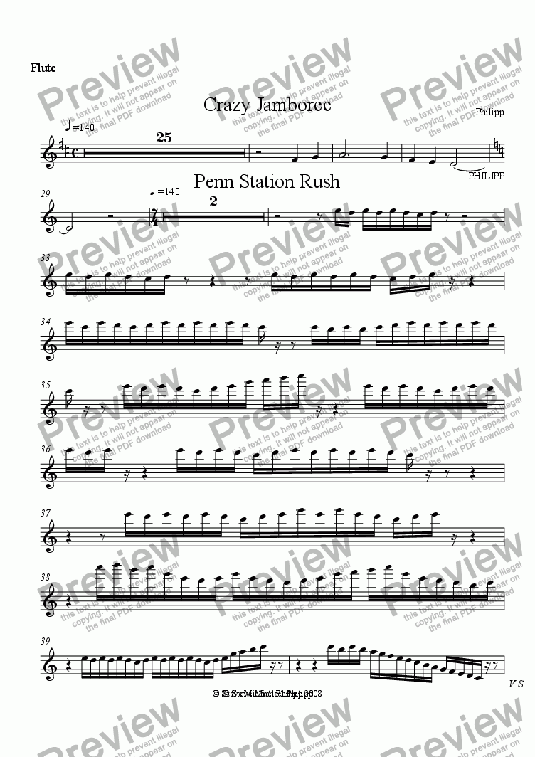 page one of the Flute 1 part from Crazy Jamboree and Penn Station Rush