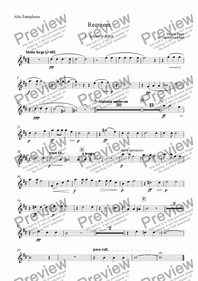 page one of the Alto Saxophone part from Requiem for Saxophone Choir and Organ - I - Introit and Kyrie