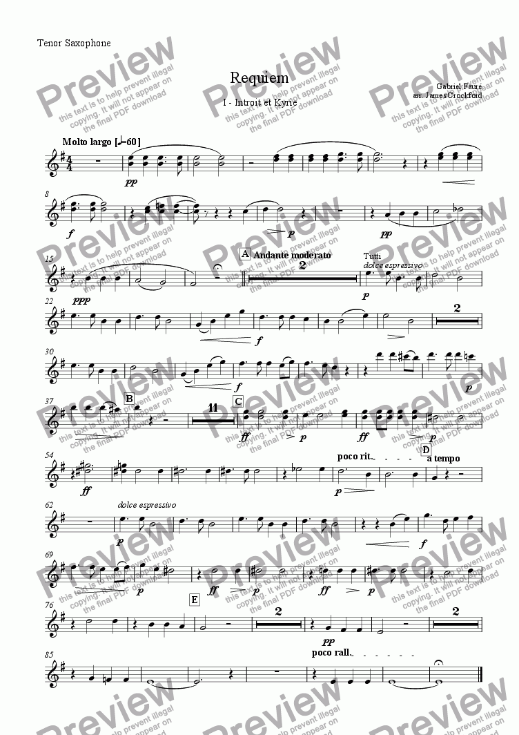 page one of the Tenor Saxophone part from Requiem for Saxophone Choir and Organ - I - Introit and Kyrie