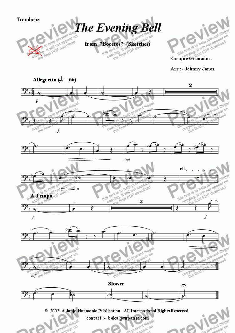 "page one of the Trombone part from Evening Bell The   (from ""Bocetas"",  Brass Quintet + )"