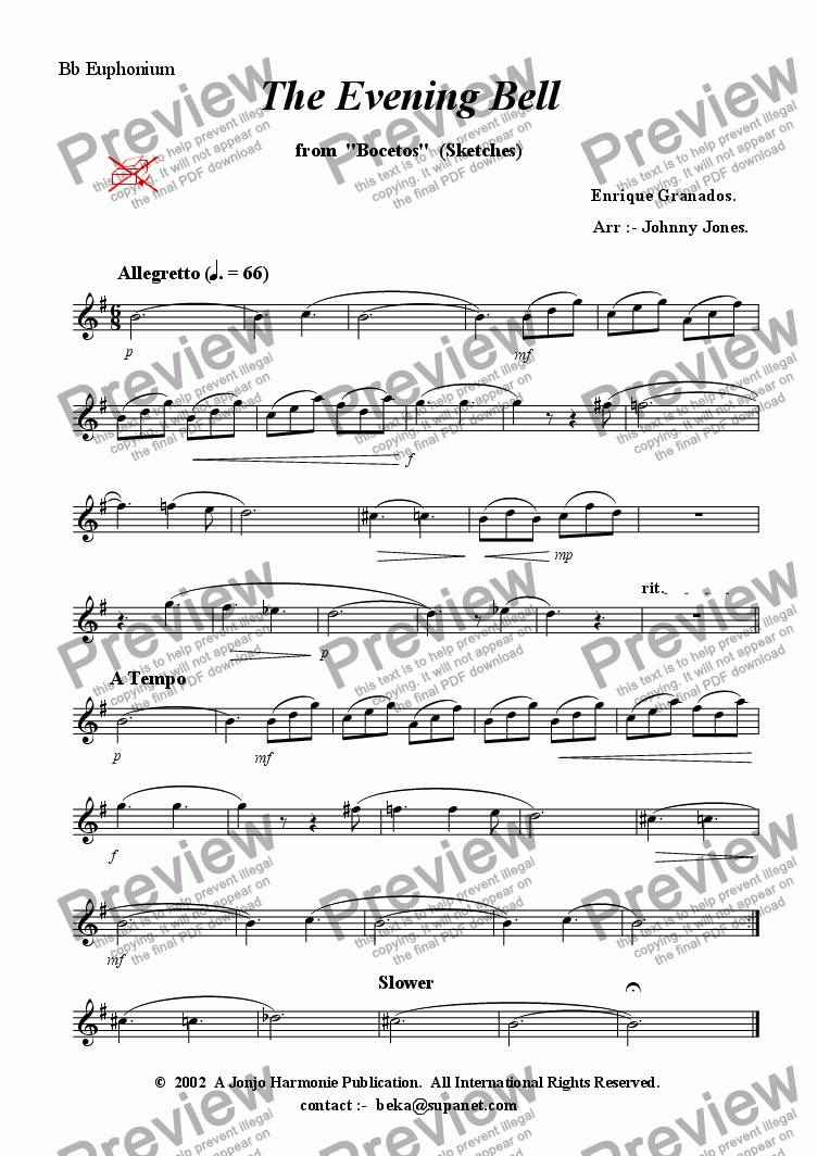 "page one of the Bb Euphonium part from Evening Bell The   (from ""Bocetas"",  Brass Quintet + )"