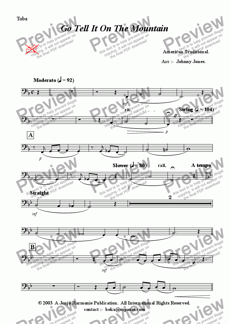 page one of the Tuba part from Go Tell It On the Mountain  (Swing, Brass Quintet + )
