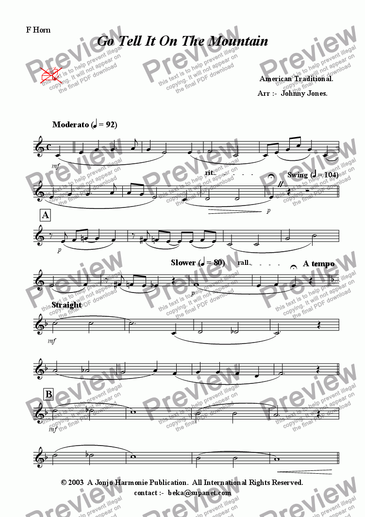 page one of the Horn in F part from Go Tell It On the Mountain  (Swing, Brass Quintet + )