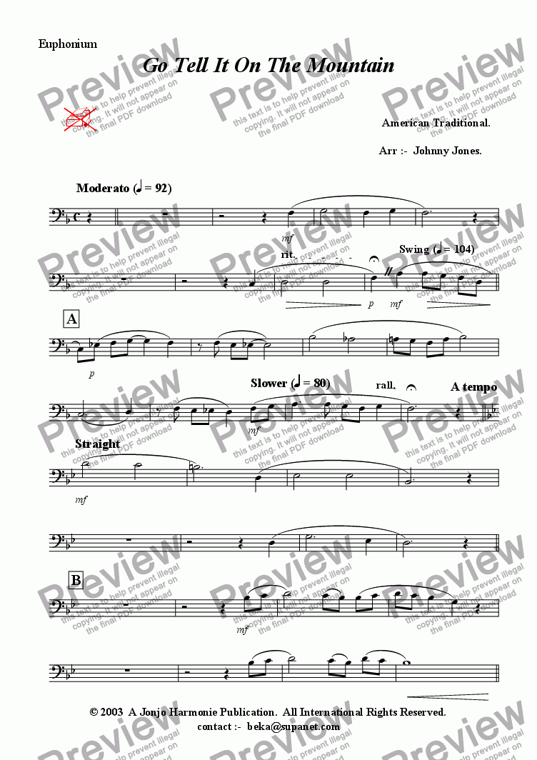 page one of the Euphonium part from Go Tell It On the Mountain  (Swing, Brass Quintet + )
