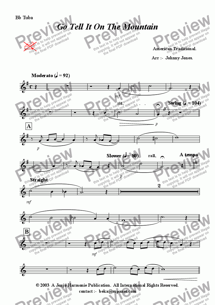 page one of the Bb Bass part from Go Tell It On the Mountain  (Swing, Brass Quintet + )